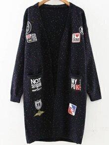 Navy Patch Embellished Drop Shoulder Sweater Coat