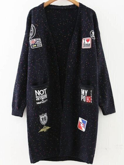 Navy Patch Embellished Drop Shoulder Sweater Coat