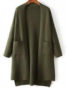Army Green Side Slit Dip Hem Cardigan With Pockets