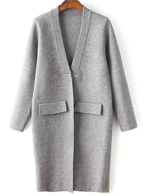 Grey Ribbed Neck Hidden Button Loose Cardigan With Fake Pockets