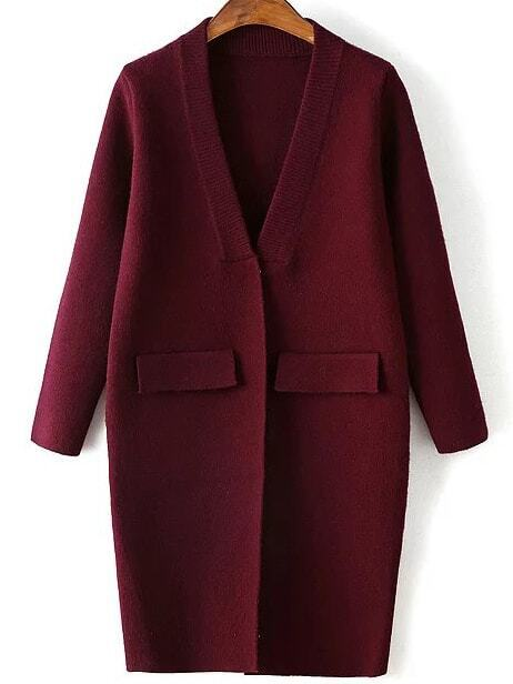 Burgundy Ribbed Neck Hidden Button Loose Cardigan With Fake Pockets