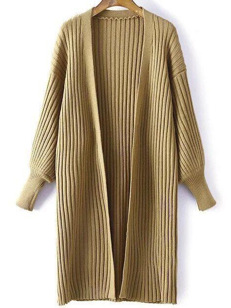 Khaki Ribbed Drop Shoulder Lantern Sleeve Cardigan sweater160831218