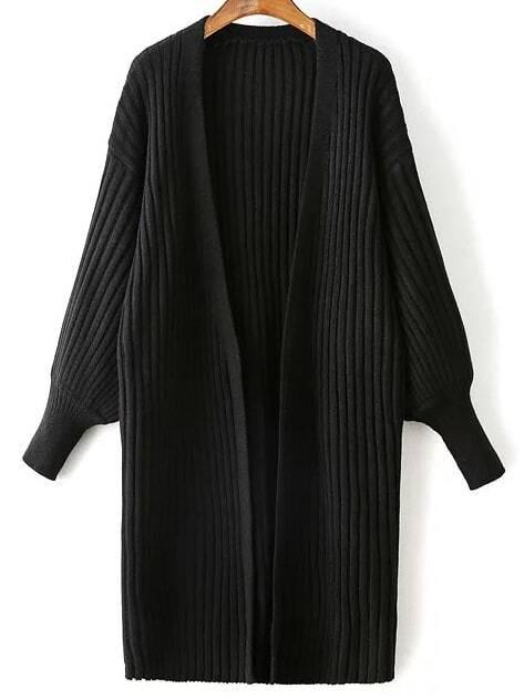 Black Ribbed Drop Shoulder Lantern Sleeve Cardigan