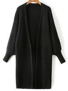 Black Ribbed Drop Shoulder Lantern Sleeve Cardigan