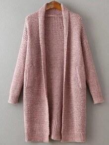 Veste pull longue col en châle - rose
