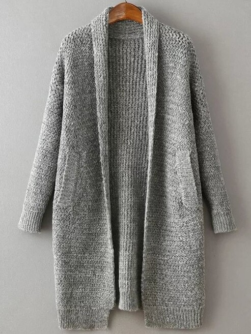 Grey Shawl Collar Drop Shoulder Long Sweater Coat