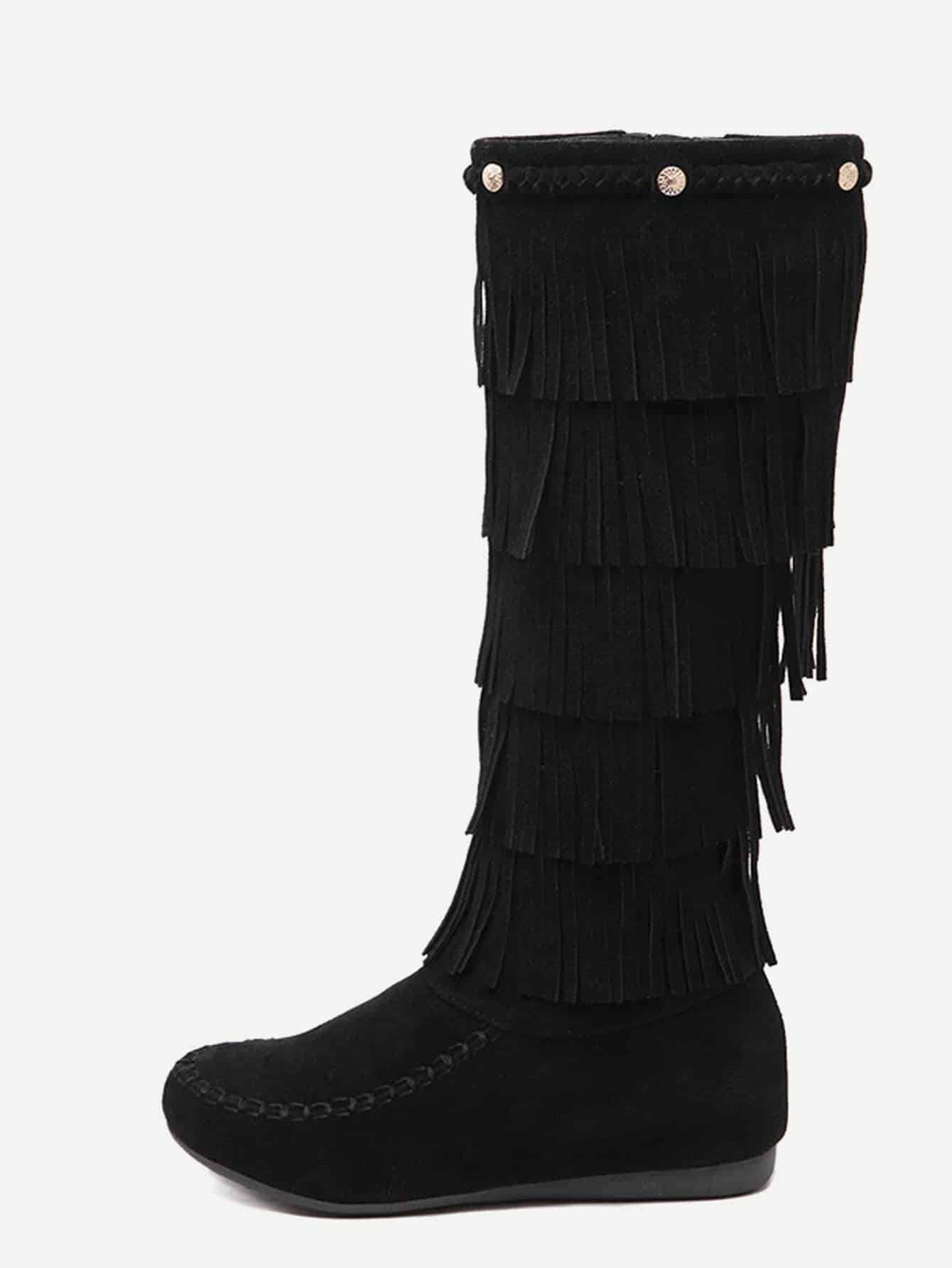 black faux suede flat tassel knee high boots