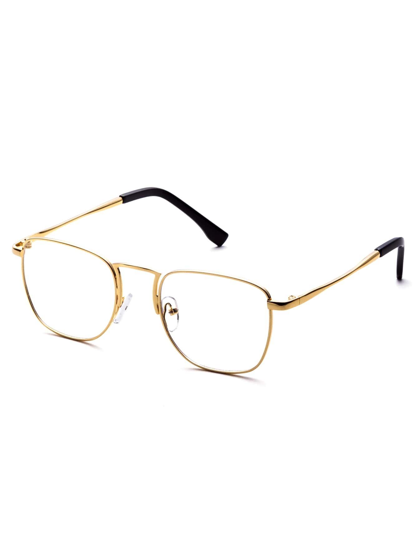 Gold Metal Eyeglass Frames : Gold Metal Frame Clear Lens Glasses