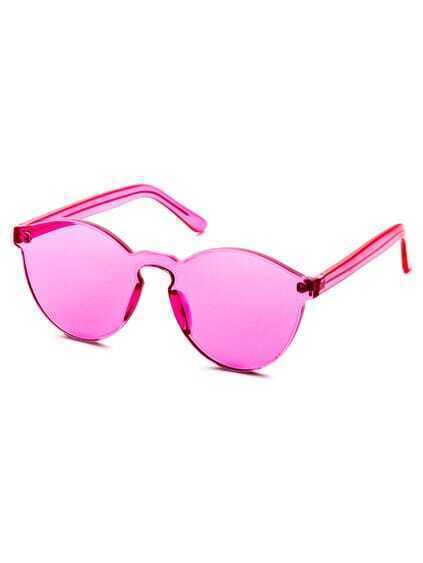 Pink Clear One Piece Retro Style Sunglasses
