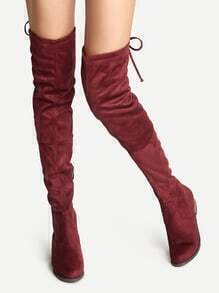 Burgundy Suede Lace Up Over The Knee Boots