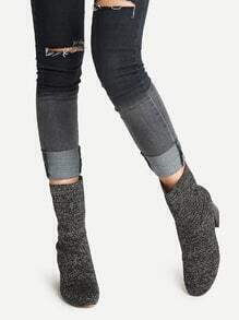 Botines de tobillo tejido - negro