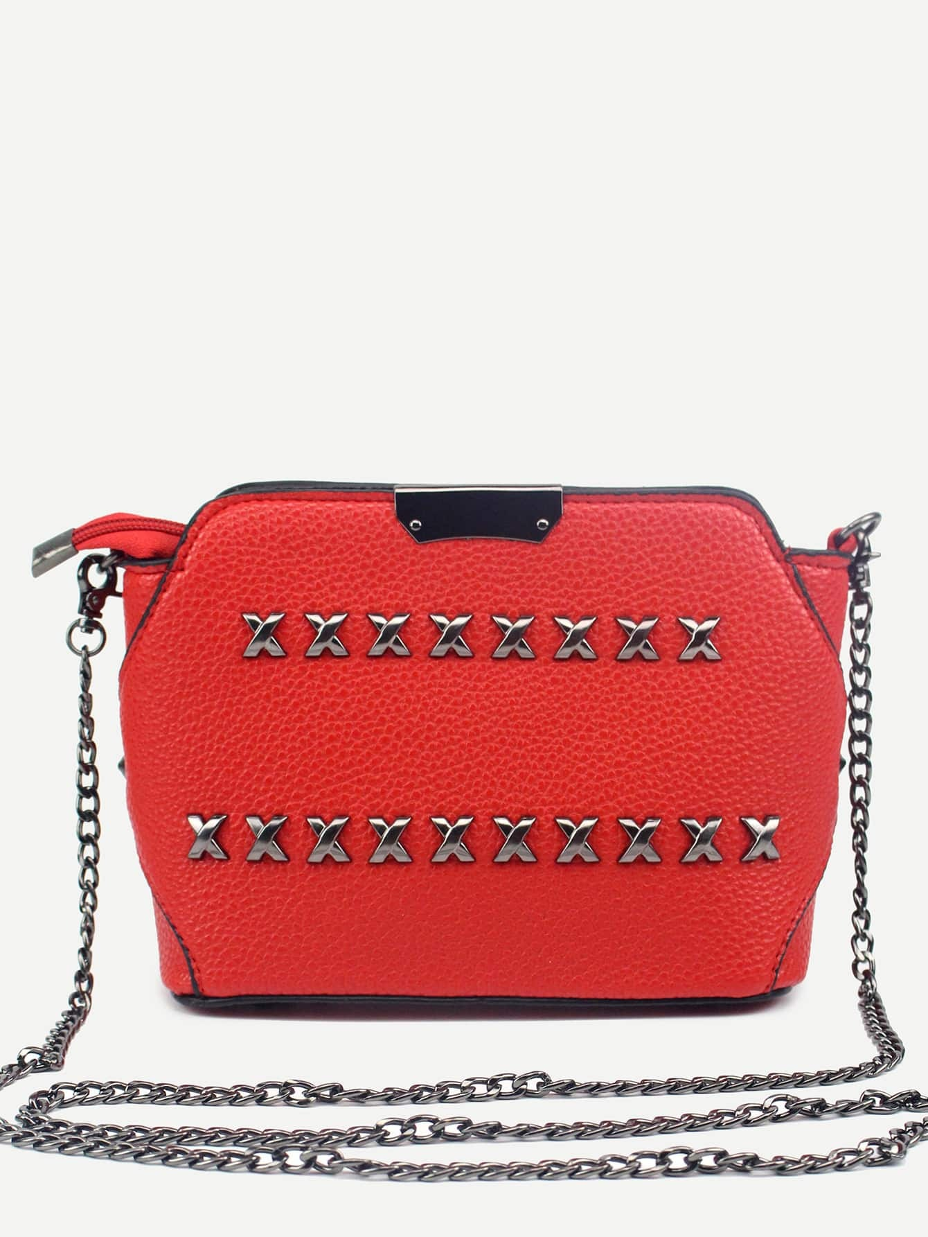 Sac cha ne en similicuir avec rivets rouge french romwe for Interieur paupiere inferieure rouge