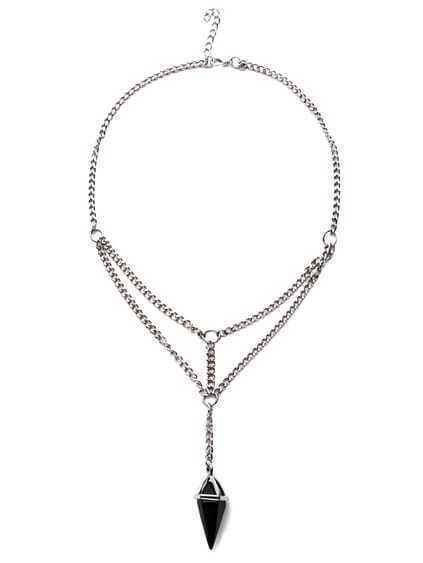 Antique Silver Layered Crystal Pendant Necklace