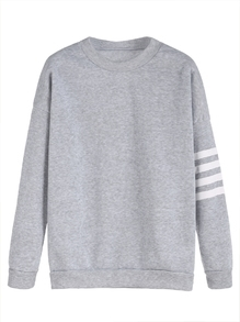 Light Grey Sleeve Striped Dropped Shoulder Seam Sweatshirt