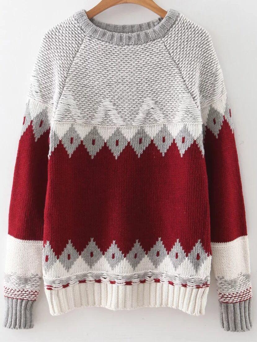 Red Geometric Pattern Ribbed Trim Sweater