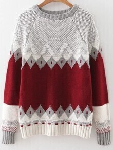 Red Geometric Pattern Ribbed Trim Sweater