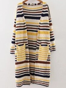 Yellow Striped Drop Shoulder Pocket Long Cardigan