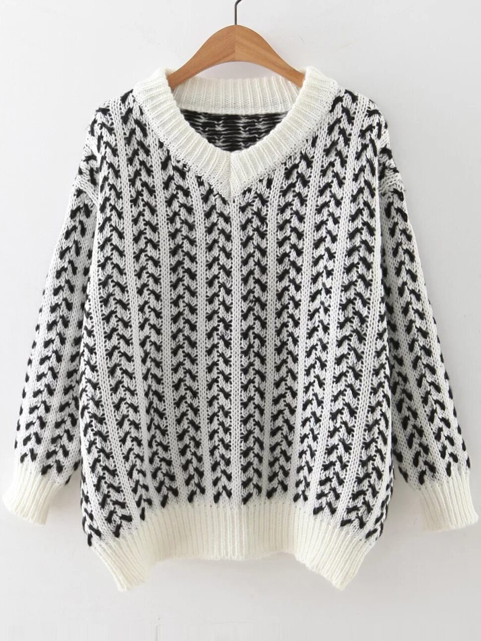 White V Neck Ribbed Trim Loose Sweater sweater160901215