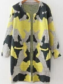 Cárdigan largo con estampado camuflaje y bolsillo - amarillo