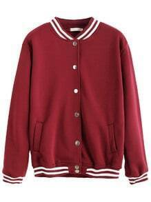 Burgundy Varsity Print Button Front Jacket