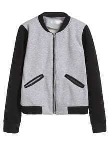 Grey Contrast Sleeve Zipper Up Baseball Jacket