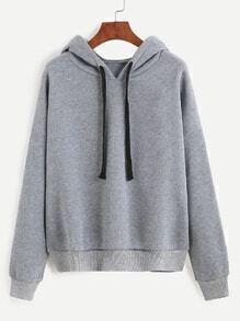 Sweatshirt mit Kapuzem Tropfen Schulter - grau