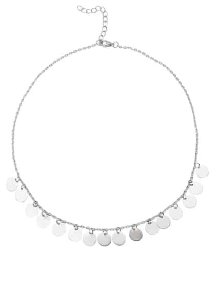 Silver Coin Fringe Delicate Chain Necklace