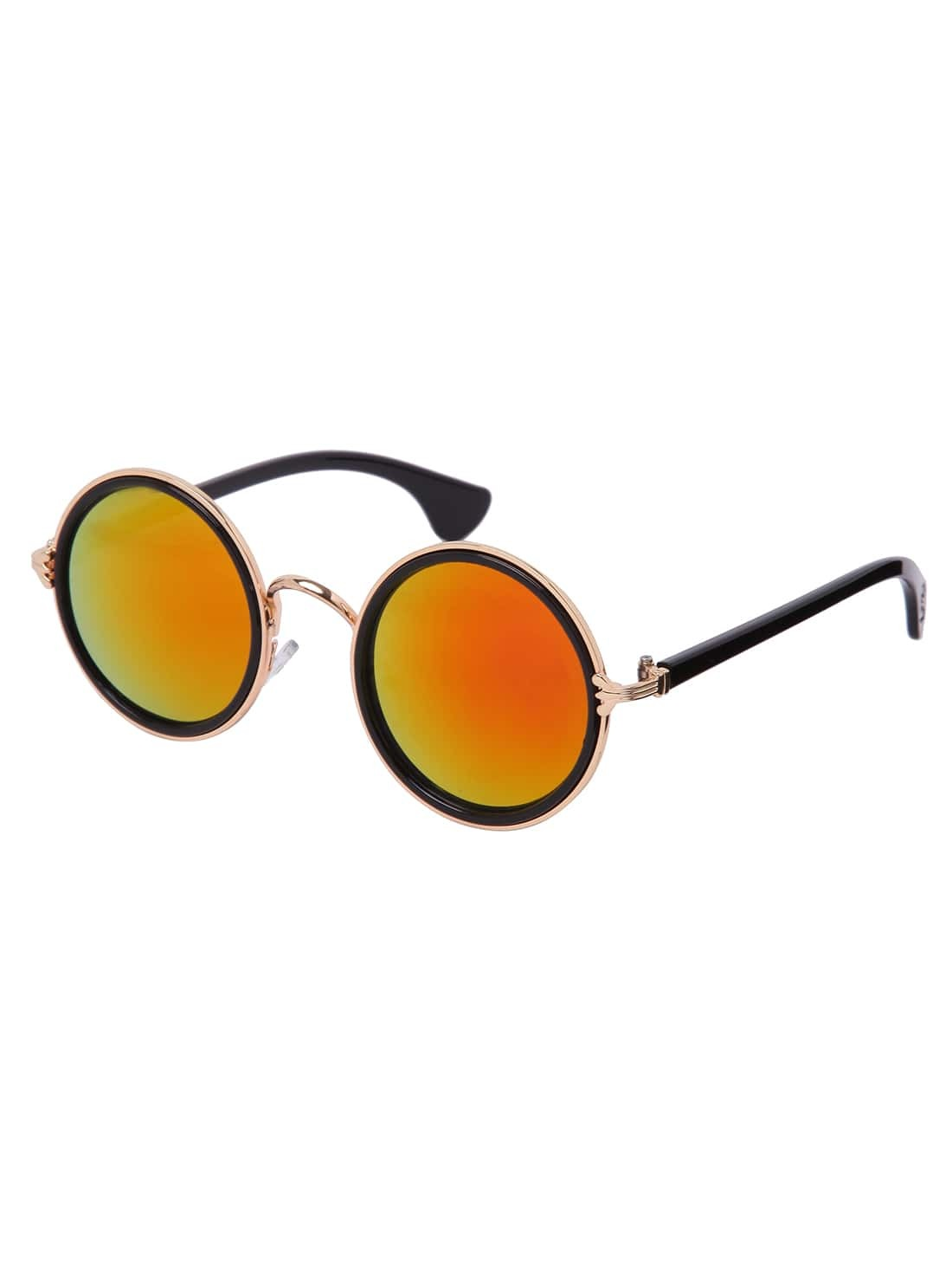 Red Lens Gold Frame Sunglasses : Gold Frame Round Red Lens Retro Style Sunglasses