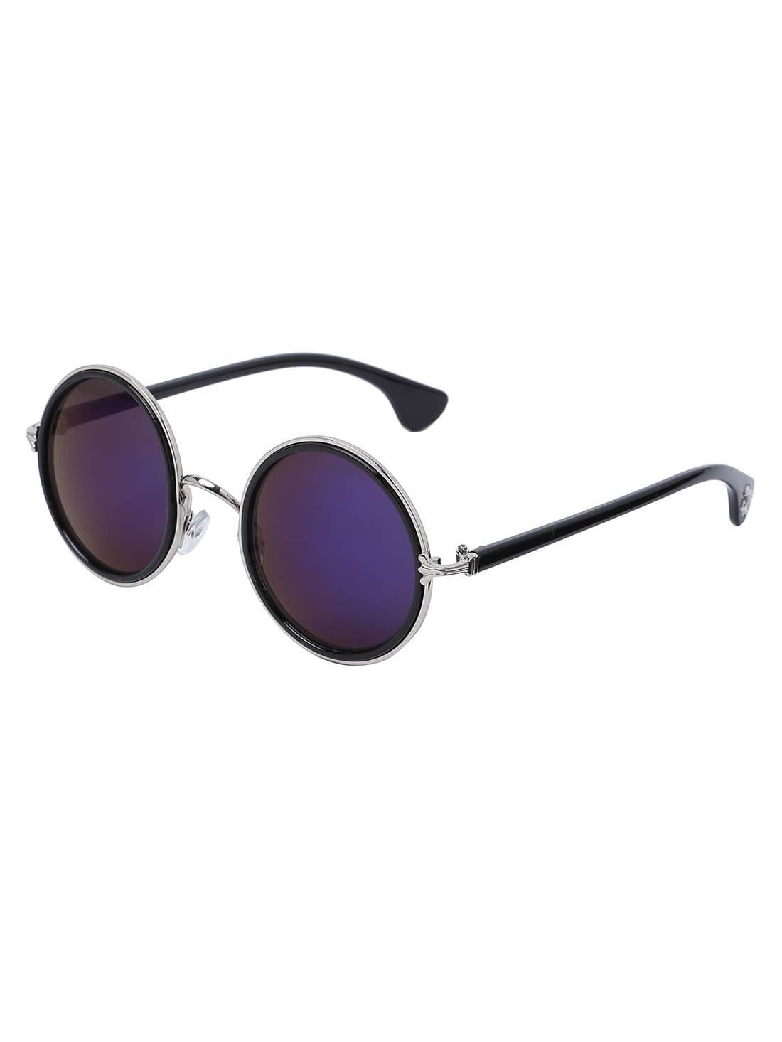 Gold Frame Round Blue Lens Retro Style Sunglasses sunglass160902303