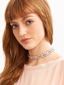 White Floral Ribbon Choker Necklace
