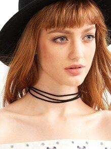 Black Layered Simple Cord Choker Necklace