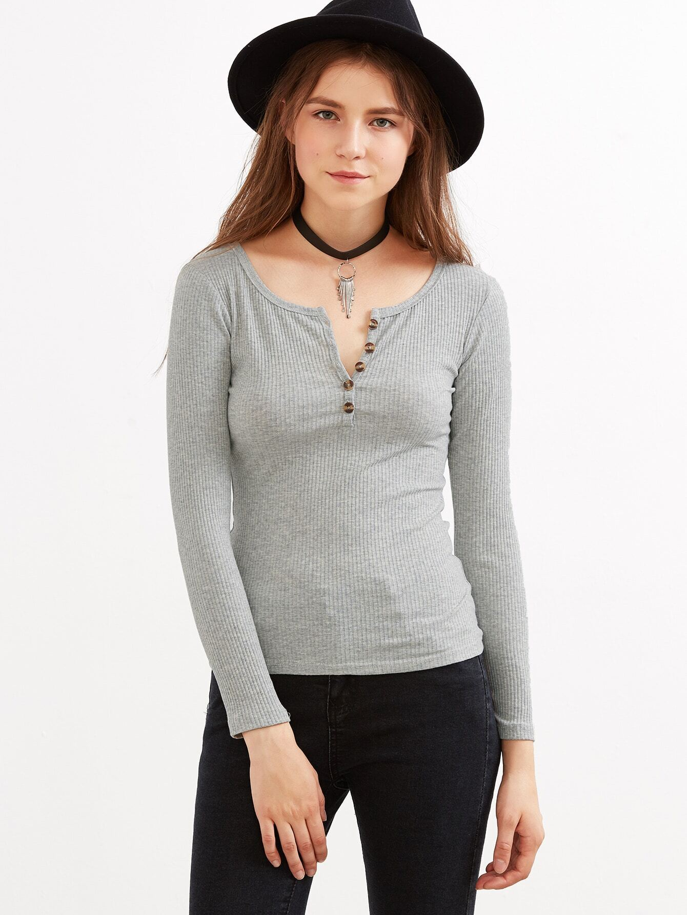 Heather Grey V Cut Ribbed Knit T-shirt With Button