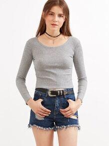 Heather Grey Ribbed Crop T-shirt