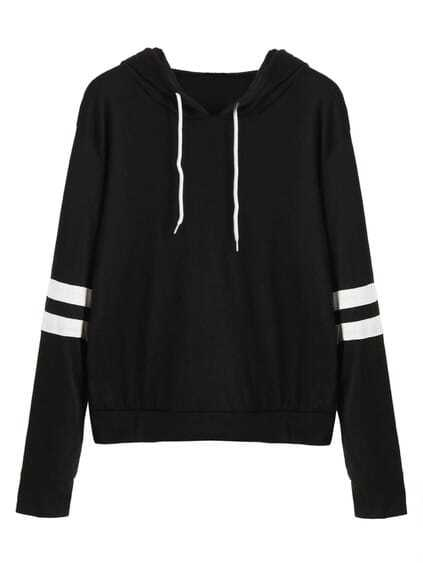 Black Varsity Striped Drawstring Hooded Sweatshirt