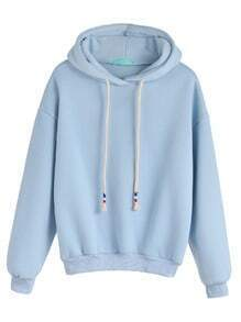 Pale Blue Drop Shoulder Drawstring Hooded Sweatshirt