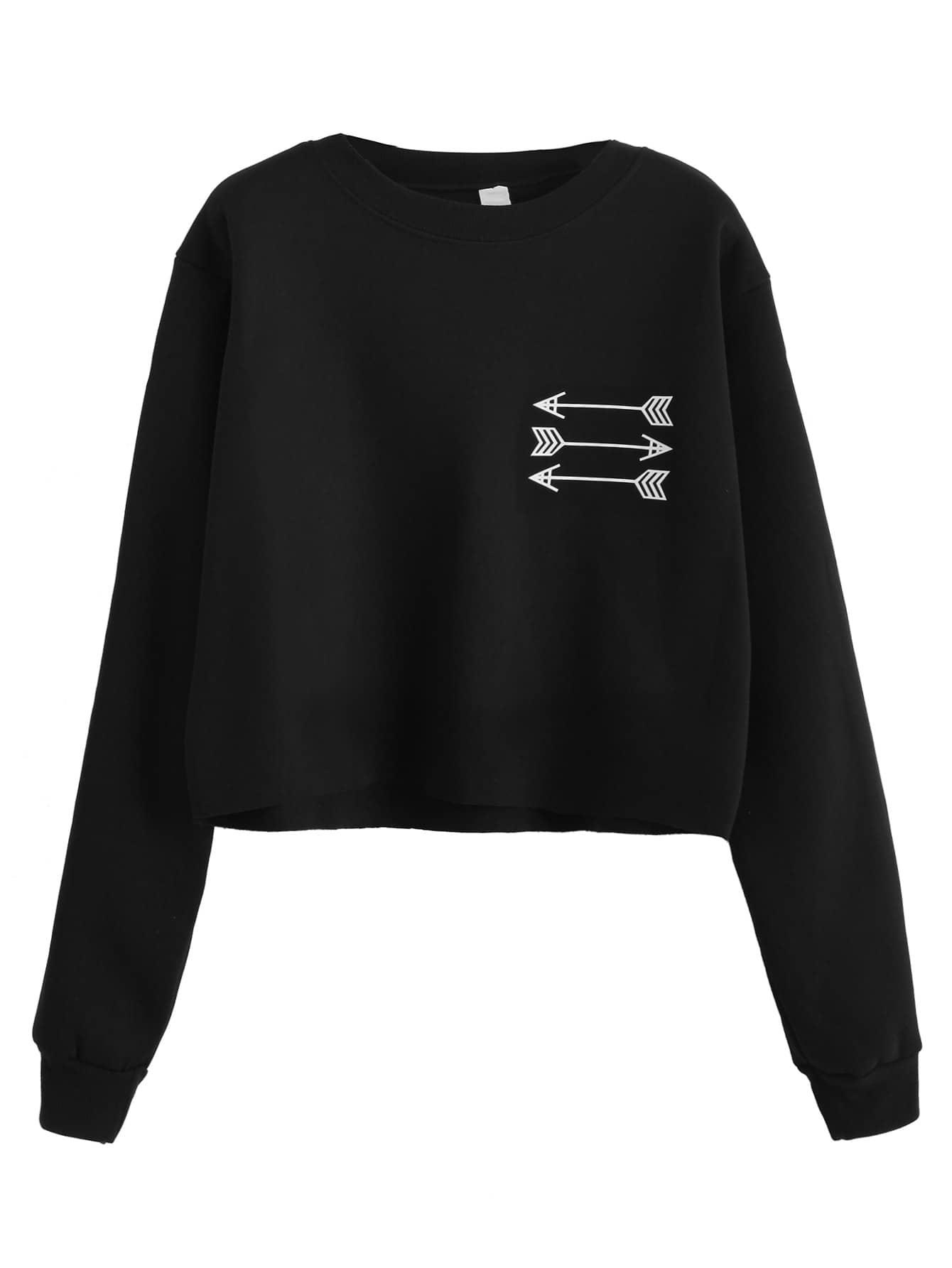 Black Arrow Print Sweatshirt
