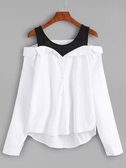 White Black Fold Over Cold Shoulder Blouse