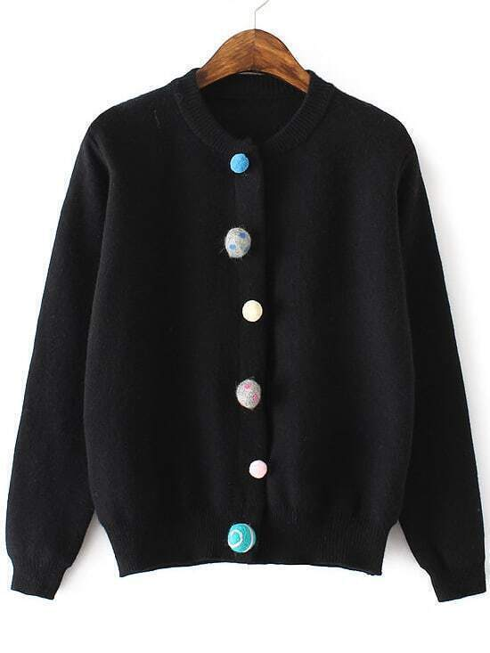Black Ribbed Trim Cardigan With Pom Pom Button sweater160902214