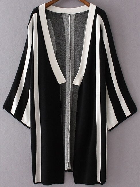 Black Vertical Striped Open Front Long Cardigan