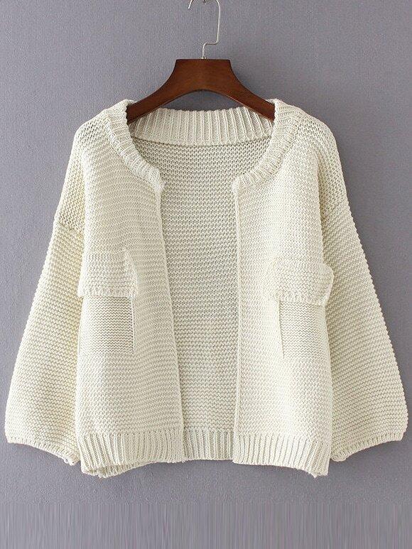 White Drop Shoulder Lantern Sleeve Pocket Cardigan sweater160902217