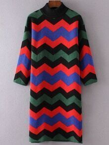 Wave Pattern Crew Neck Three Quarter Sleeve Sweater Dress