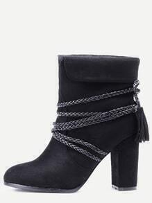 Black Braided Strap Detail Fold Over Boots