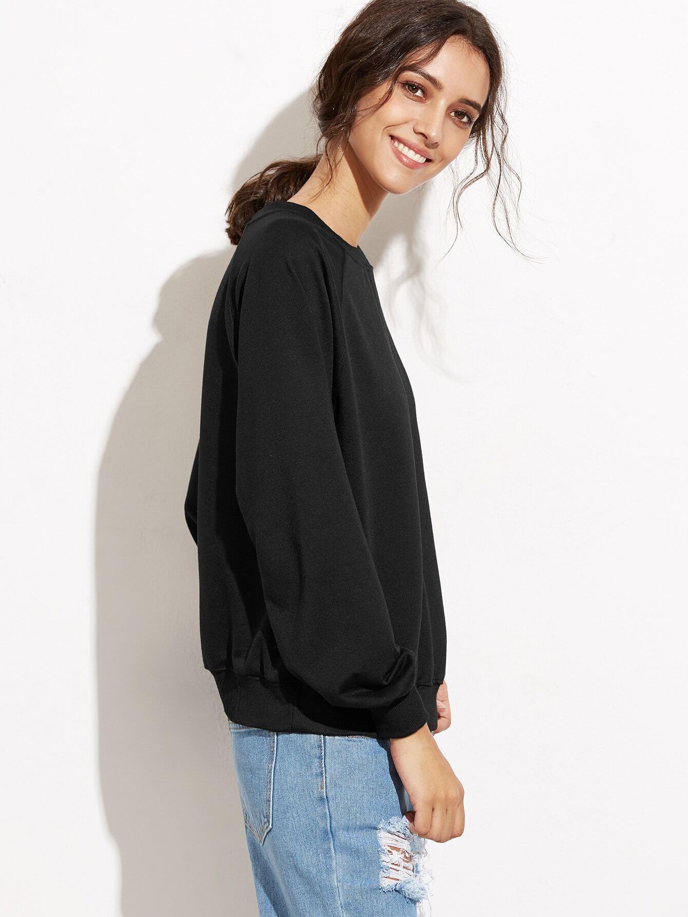sweat shirt plain une paule ouverte noir french romwe. Black Bedroom Furniture Sets. Home Design Ideas