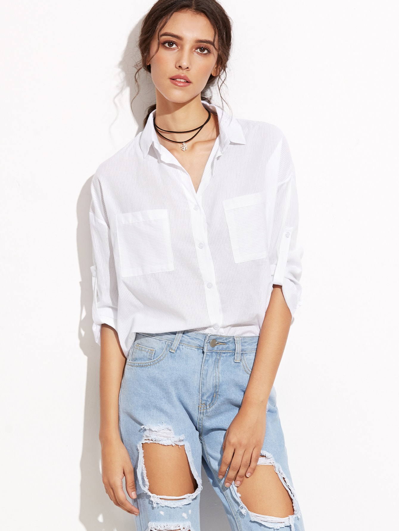 White Ribbed High Low Shirt With Pockets blouse160831021