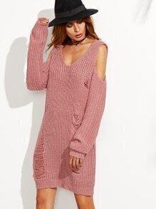 Robe pull col V épaules nues effet déchiré - rose