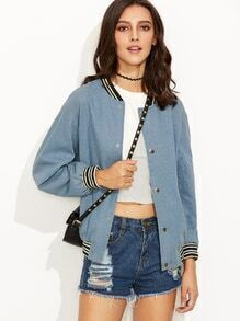 Blue Ribbed Varsity Stripe Trim Chambray Bomber Jacket