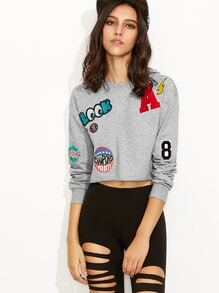 Heather Grey Raw Hem Crop Sweatshirt With Embroidered Patch