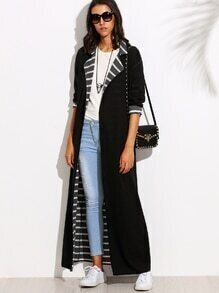 Black Lapel Long Sleeve Convertible Maxi Outerwear