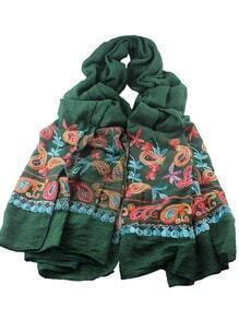 Green Bohemian Style Flower Printed Scarf For Ladies