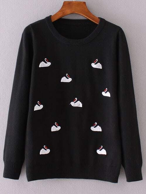 Black Swan Embroidery Ribbed Trim Knitwear sweater160903202
